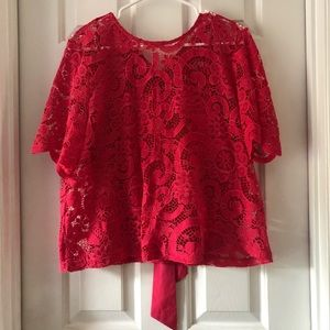 NWOT Nanette Lepore Pink Lace Top